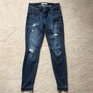 raw hem dark wash jeans